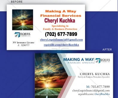 Business Card Redesign example - Business Card Before and After